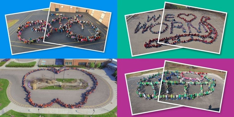 The Make-A-Book Project and author-in-residence. Pictured here are all four of the aerial-view school photos.