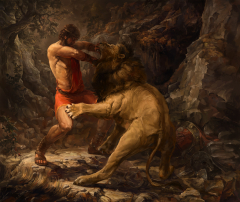 Hercules, stripped of his armor, fighting the Nemean lion.
