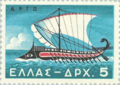 The Argo ship in the shape of a fish on a Greek stamp.