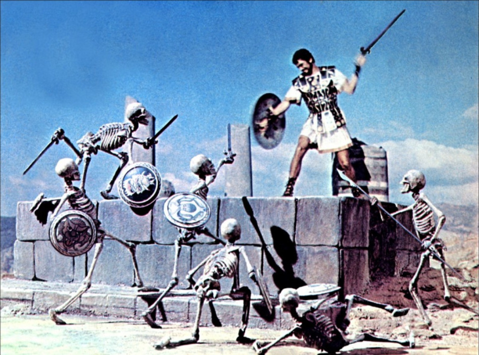 "Jason battling the skeleton warriors. Still from the 1963 movie ""Jason and the Argonauts""."
