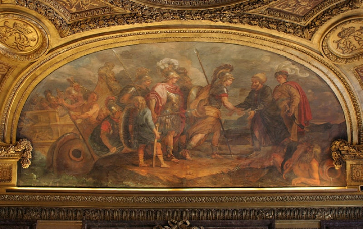 Painting of Jason and the argonauts landing in Colchis on the ceiling of the Chateau of Versailles.