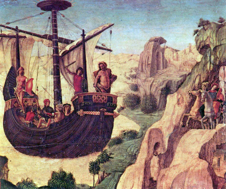 The Embarkation of the Argonauts. A faded renaissance painting by Lorenzo Costa. The ship, the Argo, appears to be floating on a cloud.